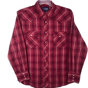 Wrangler Western Shirt Pearl Snap Red Plaid Men L